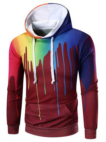 Colorful Splatter Painting Print Kangaroo Pocket Hoodie