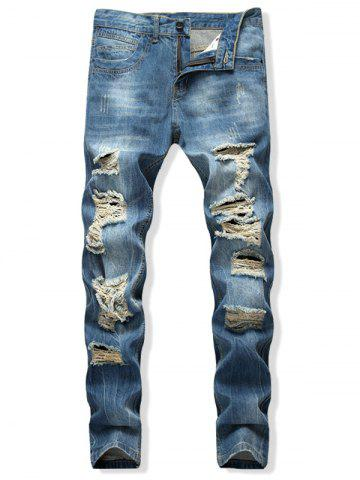 Distressed Destroy Wash Scratch Long Straight Jeans