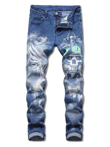 Skull Printed Zip Fly Casual Jeans