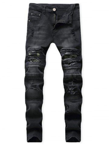 Distressed Ripped Patchwork Spliced Long Jeans