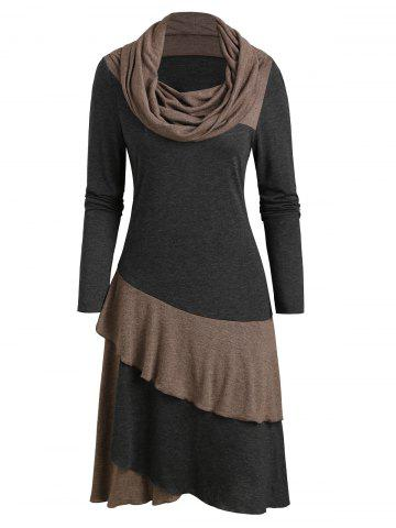 Cowl Neck Long Sleeve Contrast Heathered Layered Dress