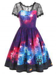 Bat Galaxy Lace Panel Buttons Halloween Dress -