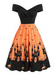 Off Shoulder Pumpkin Bat Multicolor Halloween Dress -