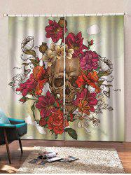 2 Panels Halloween Flowers and Skull Print Window Curtains -