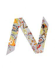 Flower Printed Ribbon Narrow Long Scarf -