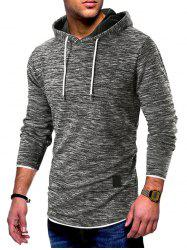 Contrast Trim Pullover Drawstring Hoodie -