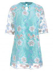 Floral Embroidered Cut Out Mesh Panel Blouse -
