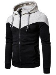 Contrast Shoulder Front Pocket Zip Up Hoodie -