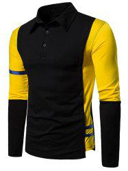 Striped Trim Two Tone Turn Down Collar T Shirt -