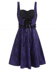 Halloween Spider Net Lace Sleeveless Lace-up Dress -