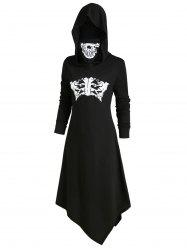 Skeleton Long Sleeves Halloween Hooded Dress with Mask -