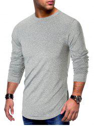 Long Sleeve Curved Hem Solid T-shirt -