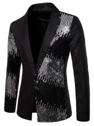 Shiny Sequined Panel Lapel One Button Party Blazer -