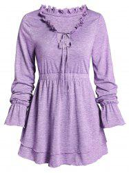 Poet Sleeve Space Dye Print Ruffle Notched Layered T-shirt -