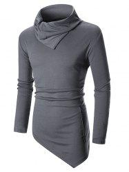 Solid Color High Low Turn Down Collar Long Sleeve T-shirt -