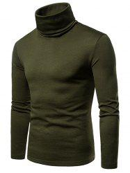 Solid Color Long Sleeve Turtle Neck Fleece T-shirt -
