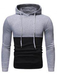 Two Tone Color Panel Pullover Hoodie -