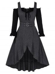 Plus Size Sweetheart Collar Dress with Off The Shoulder Solid T Shirt -