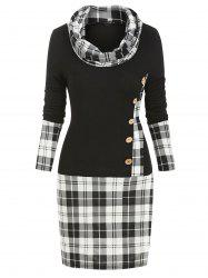Cowl Neck Plaid Print Mock Button Long Sleeve Sheath Dress -