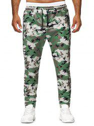 Camouflage Printed Zip Pocket Drawstring Pants -