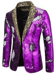 Glitter Convertible Sequins Lapel Party Blazer -