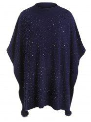 Pull Poncho Boule Fourré Grande Taille avec Strass -