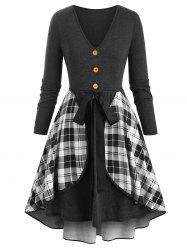 Plus Size Plaid Overlay Long Sleeve Plunge Tie Dress -