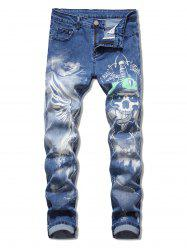Skull Printed Zip Fly Casual Jeans -