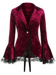 Lace Panel Lapel Button Coat -
