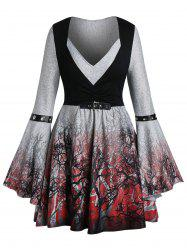 Plus Size Halloween Buckle Ombre Tree Print Bell Sleeve Gothic Tee -