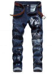 Character Wolf Print Casual Jeans -
