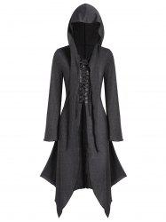 Lace-up Front Hooded Heathered Handkerchief Gothic Coat -