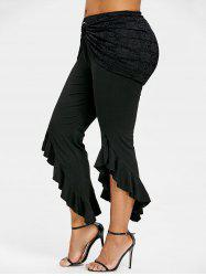 Plus Size Removable Lace Insert Ruffle Skirt Pants -