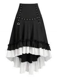 Convertible Flounced High Low Buckle Skirt -