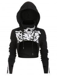 Halloween Skeleton Print Drawstring High Low Cropped Hoodie -