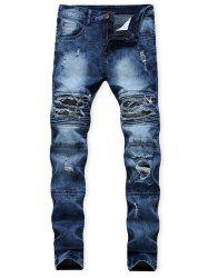 Distressed Ripped Patchwork Spliced Long Jeans -