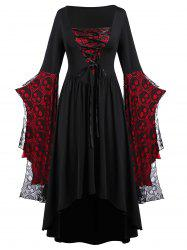 Plus Size Halloween Skull Lace Bell Sleeve Maxi Party Dress -
