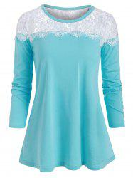 Lace Panel Round Neck Casual Tee -