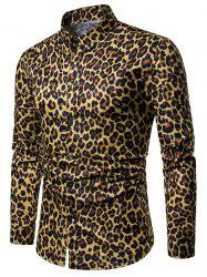 Leopard Print Long Sleeve Button Up Shirt -