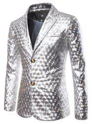 Metallic Geometric Single Breasted Party Blazer -