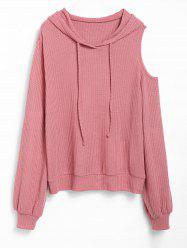 Plus Size Hooded Cold Shoulder Drawstring Knit Sweater -