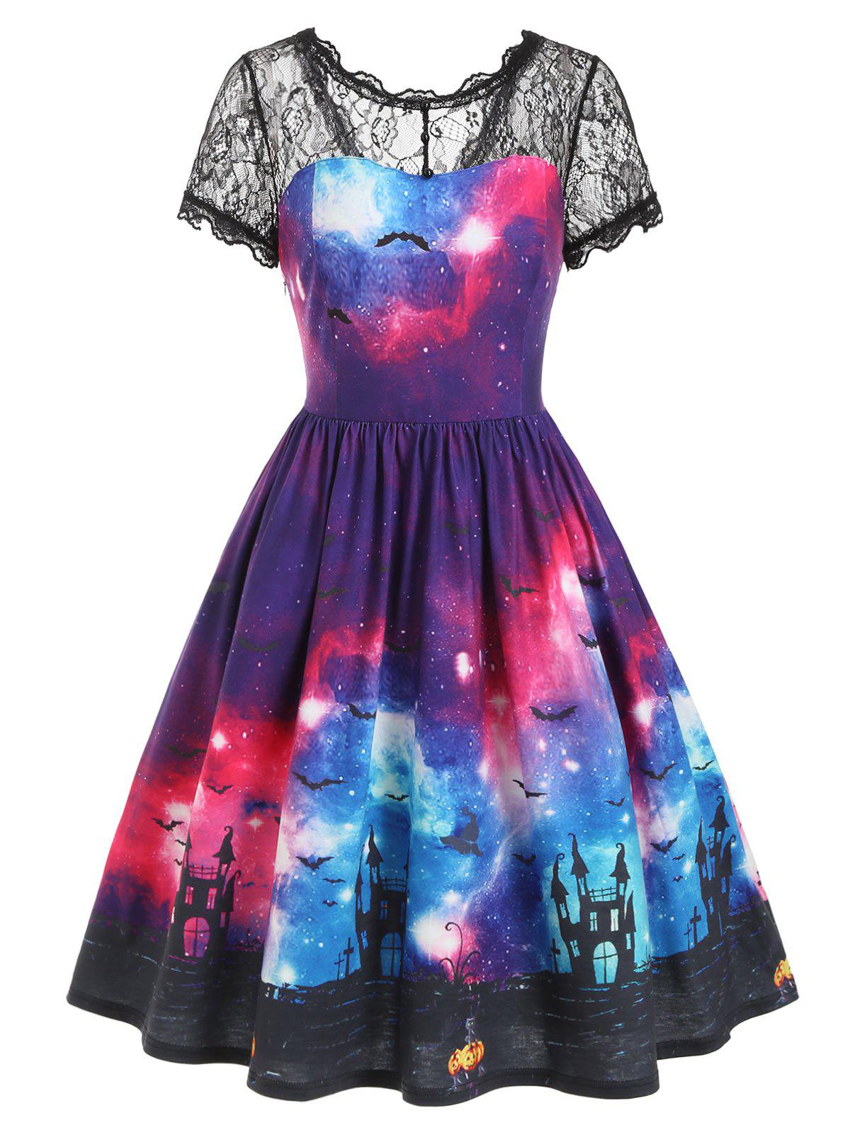 Outfits Bat Galaxy Lace Panel Buttons Halloween Dress
