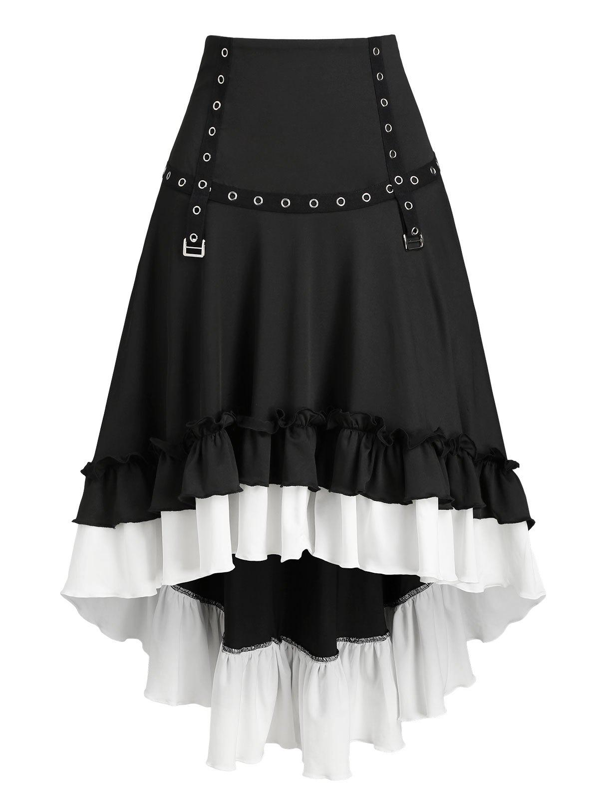Outfit Convertible Flounced High Low Buckle Skirt
