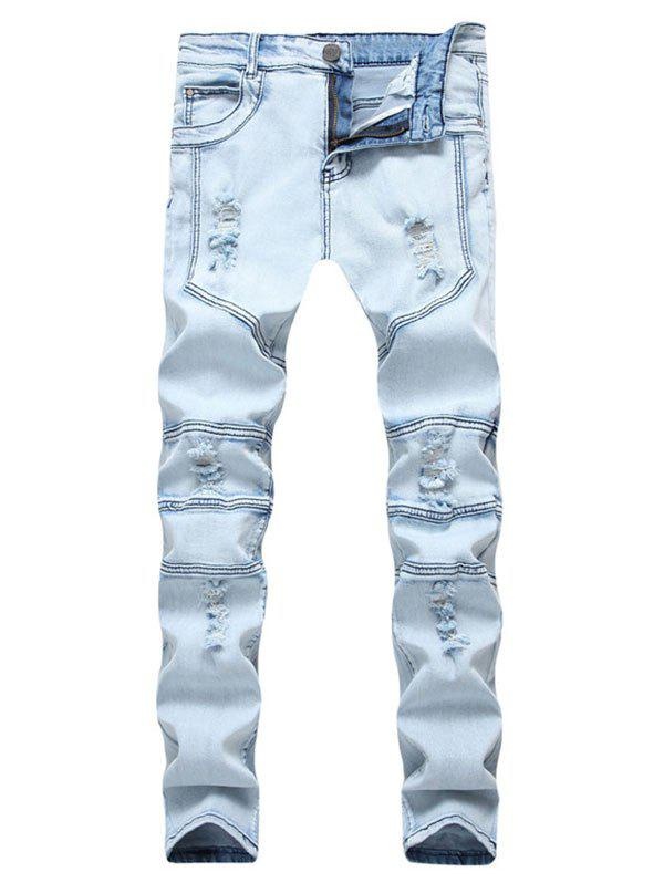 Buy Ripped Stitching Design Casual Jeans