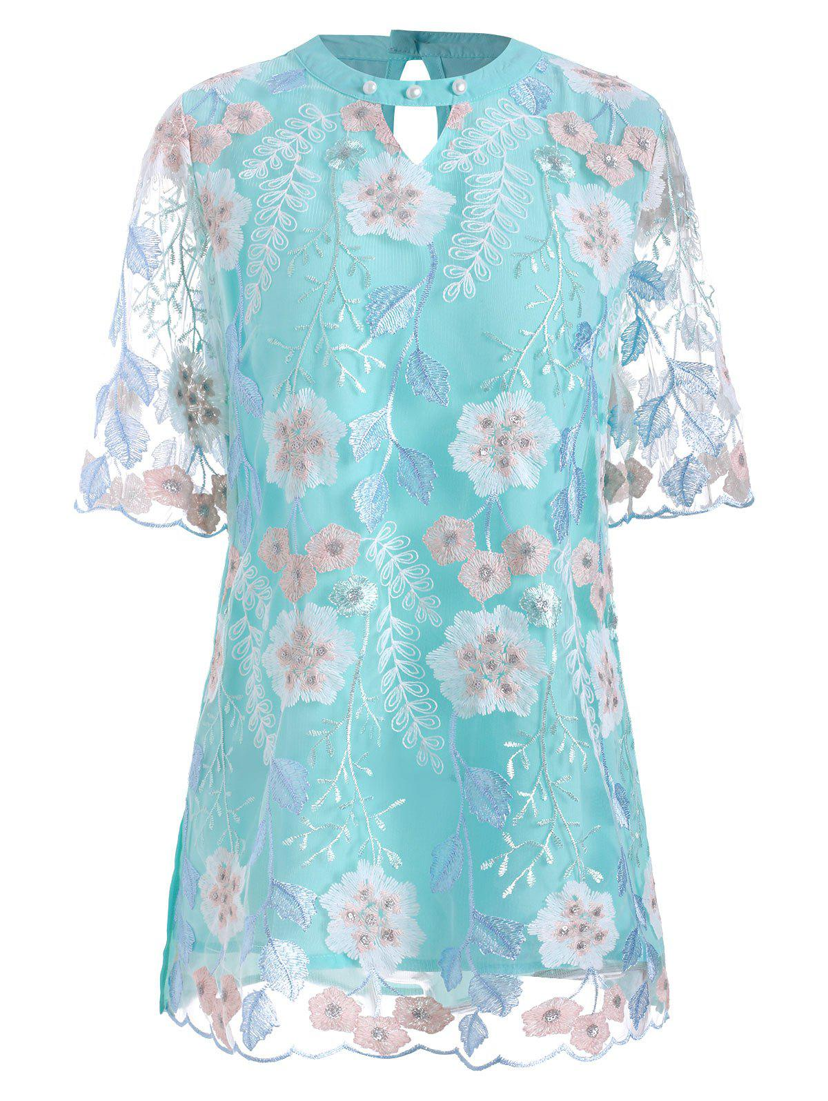 Shop Floral Embroidered Cut Out Mesh Panel Blouse