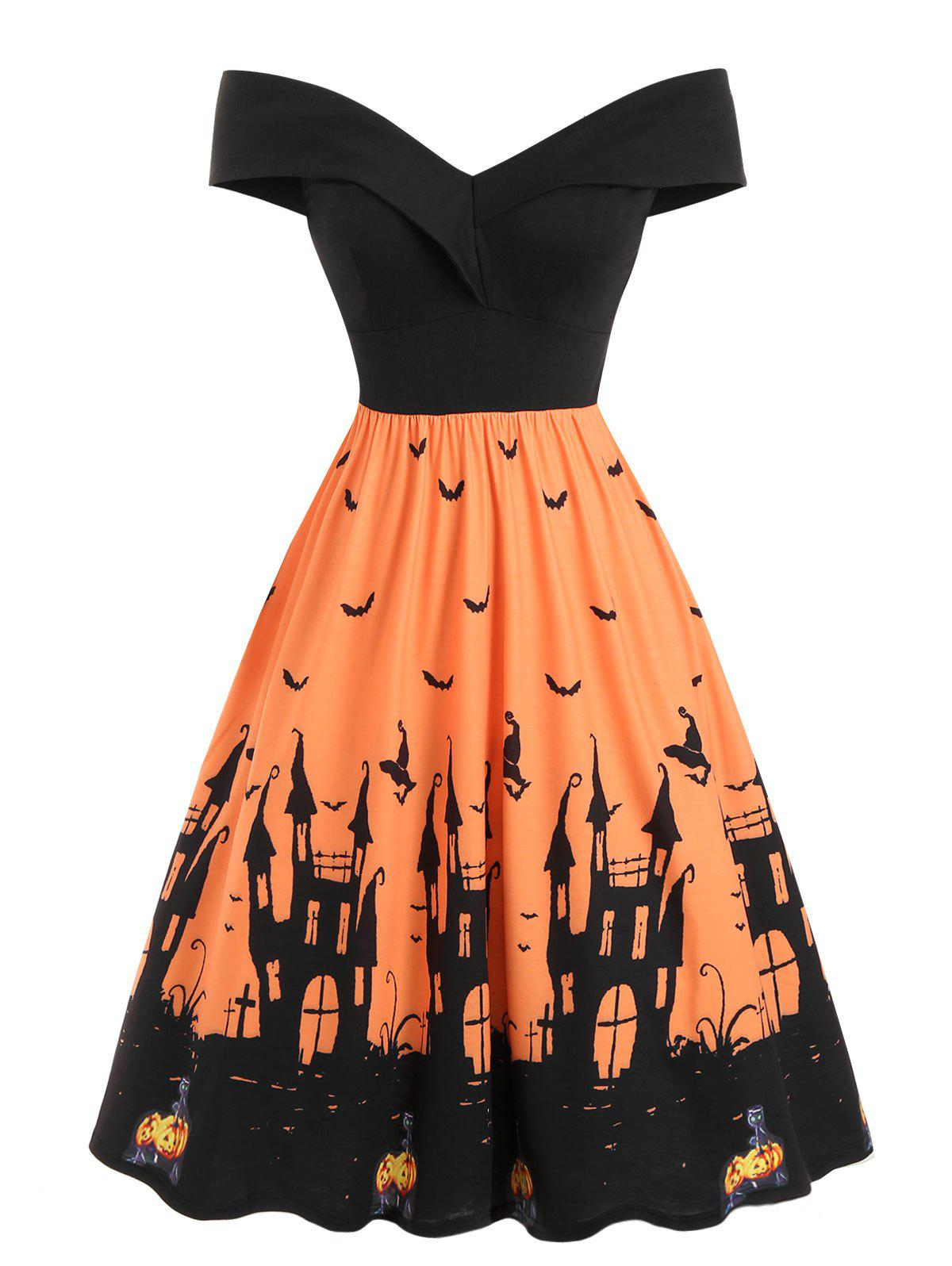 Discount Off Shoulder Pumpkin Bat Multicolor Halloween Dress