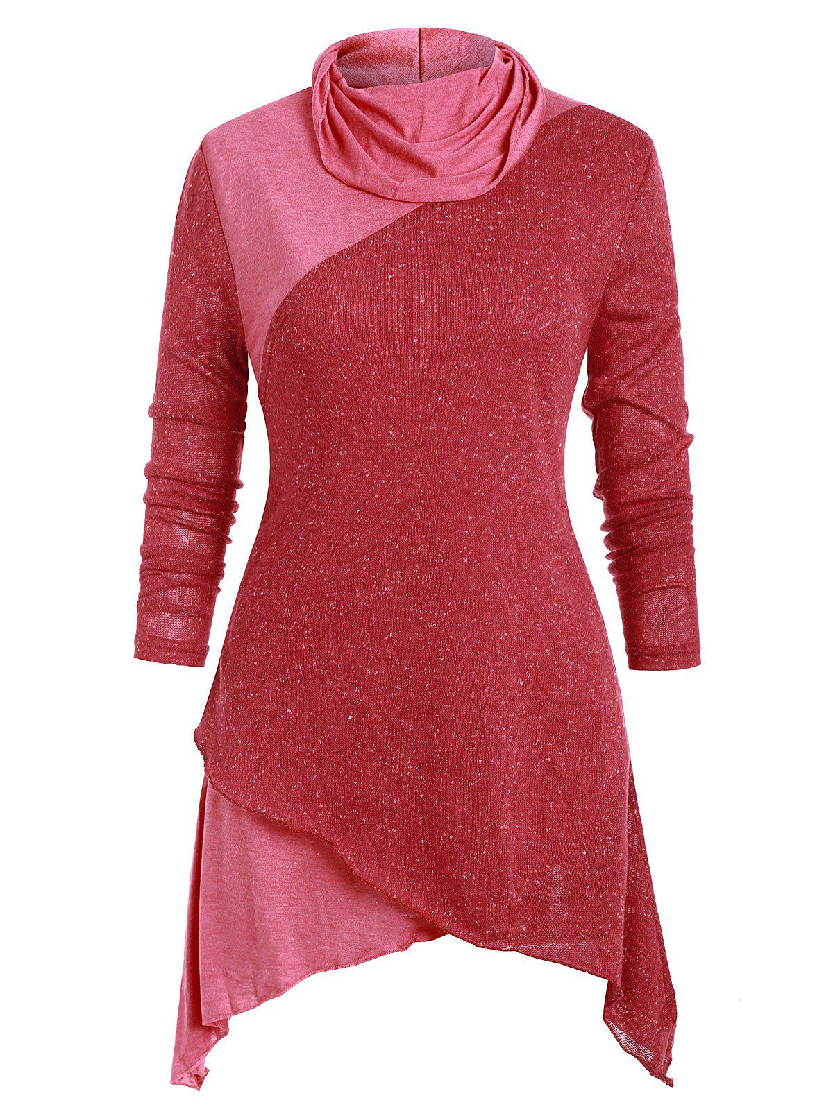 Shop Patched Asymmetric Long Sleeves Knitwear