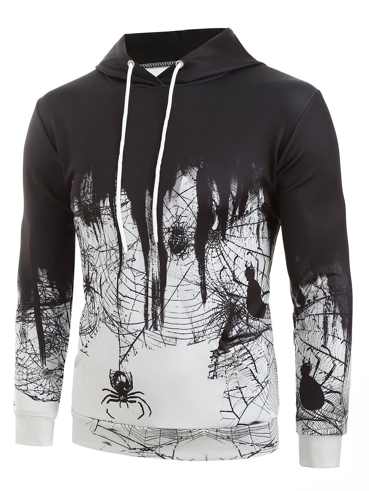 Shops Spider Web Print Casual Hoodie