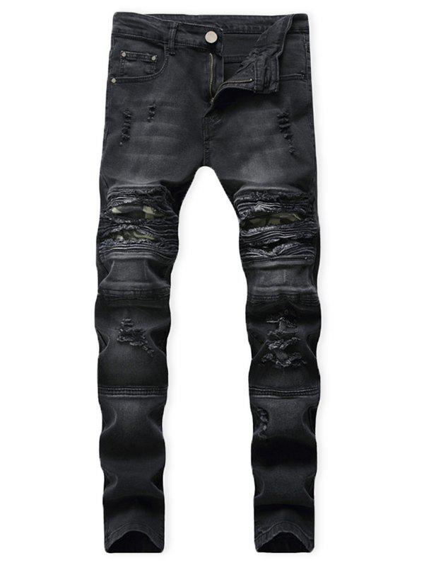 New Distressed Ripped Patchwork Spliced Long Jeans