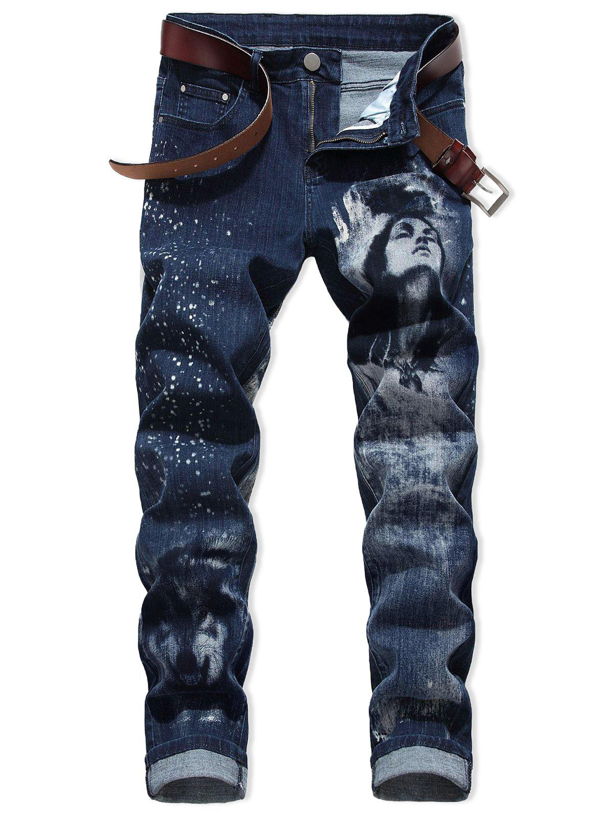 Latest Character Wolf Print Casual Jeans